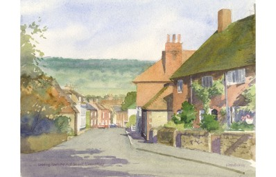 Painting of Limpsfield High Street by Eileen Bushby - http://www.sulisfineart.com/eileen-bushby-contemporary-watercolour-high-street-limpsfield.html