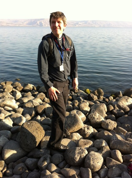 a-pilgrim-at-the-sea-of-galilee-near-the-greek-orthodox-church-of-tiberias-capernaum-were-asked-to-wear-clericals-for-this-day-only-to-show-solidarity-with-the-anglicans-in-nazareth