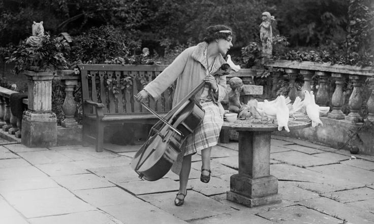 Cellist Beatrice Harrison at her home in Oxted, Surrey, in June 1929.