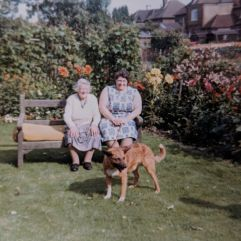 In the garden with her mum, Edith in August 1969